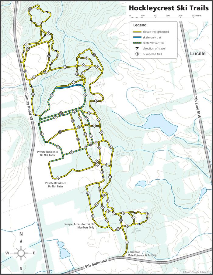 Hockleycrest Cross-country Ski Trail Network 2017/2018