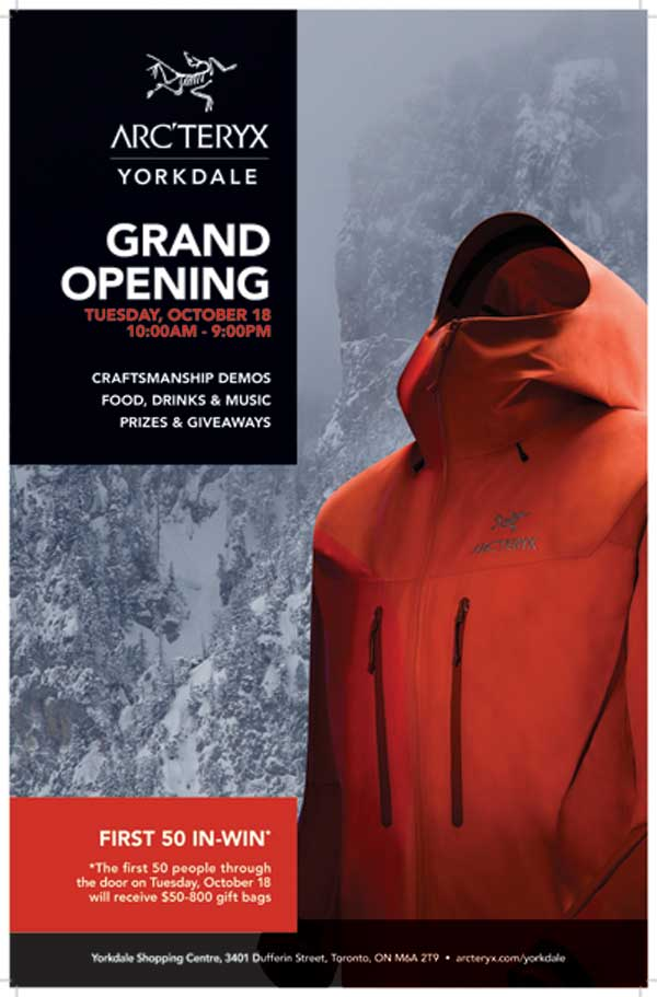 Arc'teryx Yorkdale Grand Opening -Oct 18