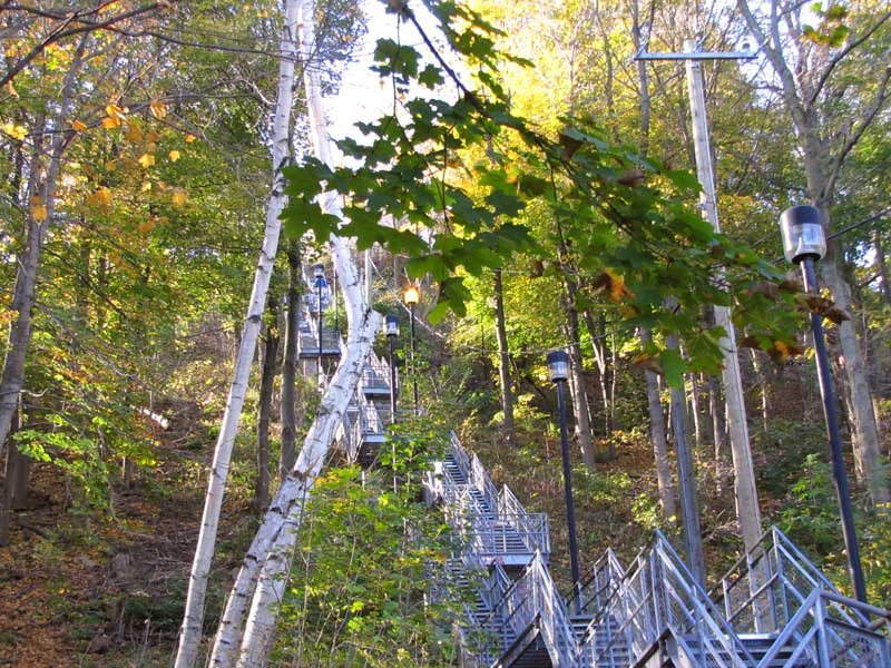 Metal staircase up the escarpment